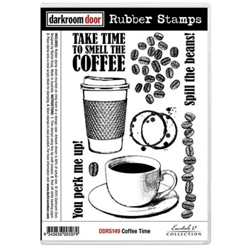 Darkroom Door Cling Stamp COFFEE TIME Rubber UM DDRS149