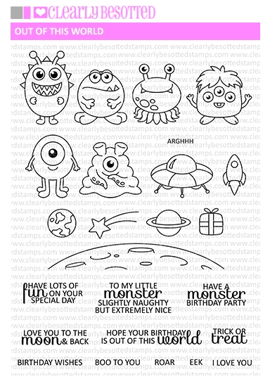 Clearly Besotted OUT OF THIS WORLD Clear Stamp Set   zoom image