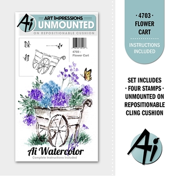 Art Impressions FLOWER CART Ai Watercolor Cling Rubber Stamps 4703