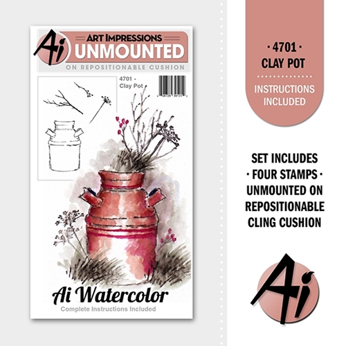 Art Impressions CLAY POT Ai Watercolor Cling Rubber Stamps 4701 Preview Image