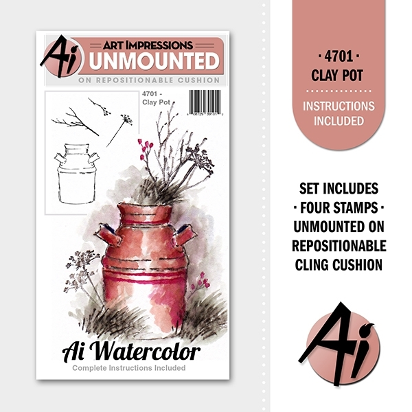 Art Impressions CLAY POT Ai Watercolor Cling Rubber Stamps 4701 zoom image