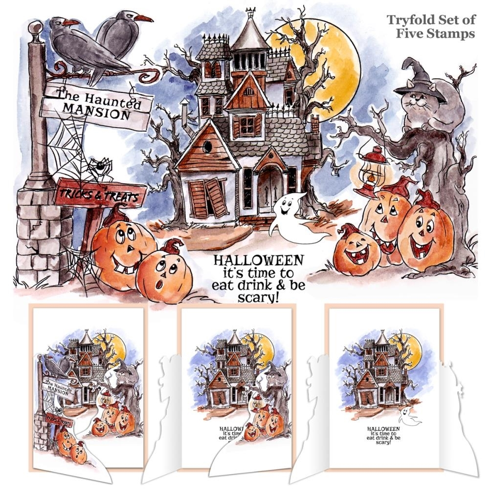 Art Impressions HAUNTED HOUSE Tryfolds Cling Rubber Stamps 4688 zoom image