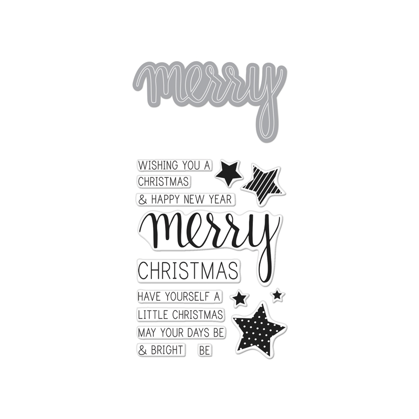 Hero Arts MERRY Coordinating Clear Stamp And Die Set DC170 zoom image