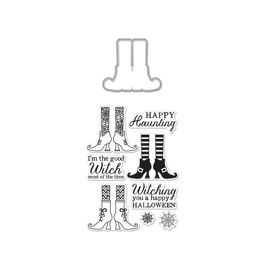 Hero Arts WITCH FEET Coordinating Clear Stamp And Die Set DC161 zoom image