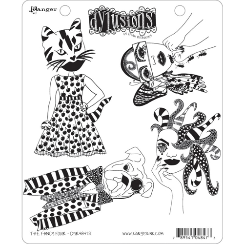 Dyan Reaveley THE FANCY FOUR Cling Stamp Set Dylusions DYR48473 Preview Image