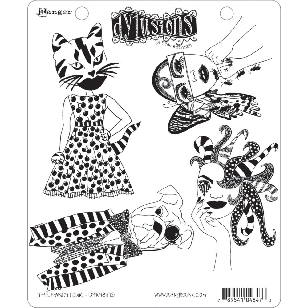 Dyan Reaveley THE FANCY FOUR Cling Stamp Set Dylusions DYR48473 zoom image