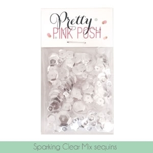 Pretty Pink Posh SPARKLING CLEAR MIX Cupped Sequins PPP120 Preview Image