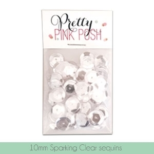 Pretty Pink Posh 10MM SPARKLING CLEAR Cupped Sequins PPP118