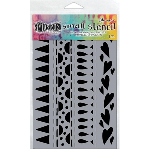 Dyan Reaveley Stencil 5 x 8 HEART BORDER SMALL Dylusions Ranger DYS47186 Preview Image