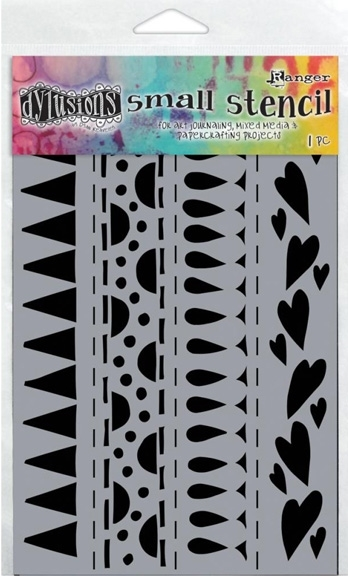 Dyan Reaveley Stencil 5 x 8 HEART BORDER SMALL Dylusions Ranger DYS47186 zoom image