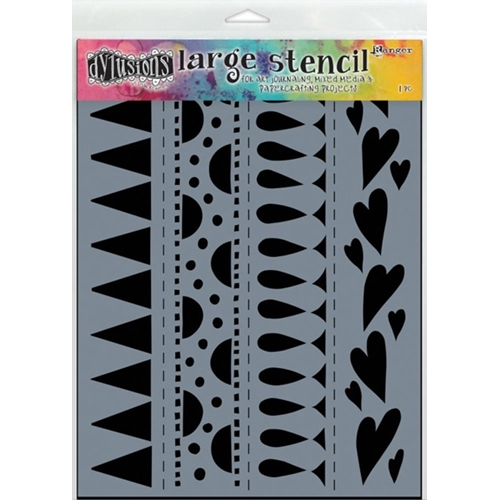 Dyan Reaveley Stencil 9 x 12 HEART BORDER BORDER LARGE Dylusions DYS47162 Preview Image