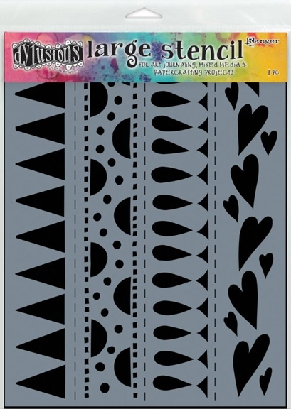 Dyan Reaveley Stencil 9 x 12 HEART BORDER BORDER LARGE Dylusions DYS47162 zoom image