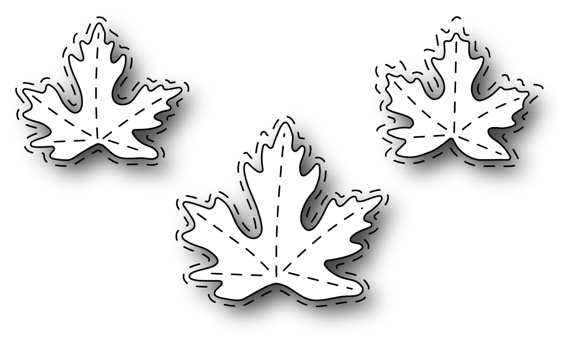 Simon Says Stamp STITCHED MAPLE TRIO Wafer Dies s317 zoom image