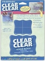 Inkadinkado Clear Acrylic Block SMALL & MEDIUM 2 Blocks for Rubber Stamp 93625*