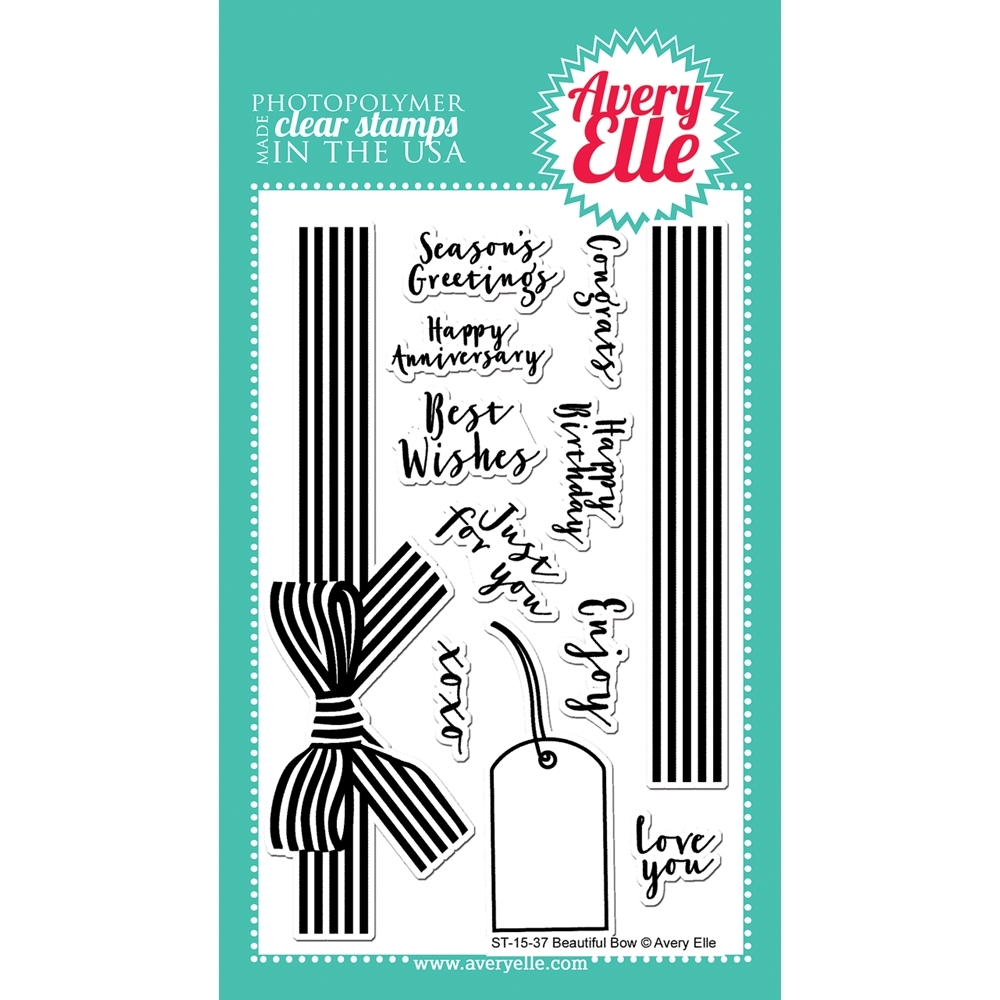 Avery Elle Clear Stamp BEAUTIFUL BOW Set ST-15-37* zoom image