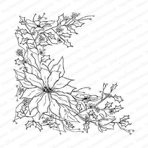 Impression Obsession Cling Stamp POINSETTIA SKETCH Cover a Card CC220 Preview Image