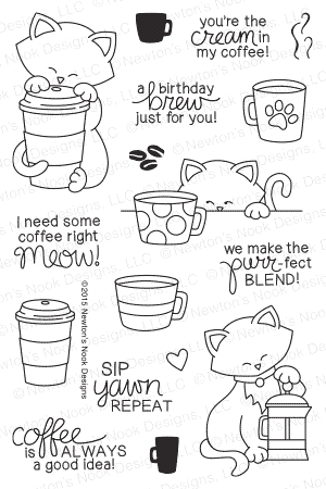 Newton's Nook Designs NEWTON LOVES COFFEE Clear Stamp Set 20150902* zoom image