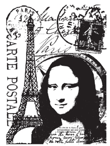 Tim Holtz Rubber Stamp PARIS COLLAGE Stampers Anonymous p4-1306