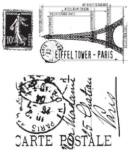 Tim Holtz Cling Rubber Stamps I SEE PARIS Stampers Anonymous CMS009 zoom image