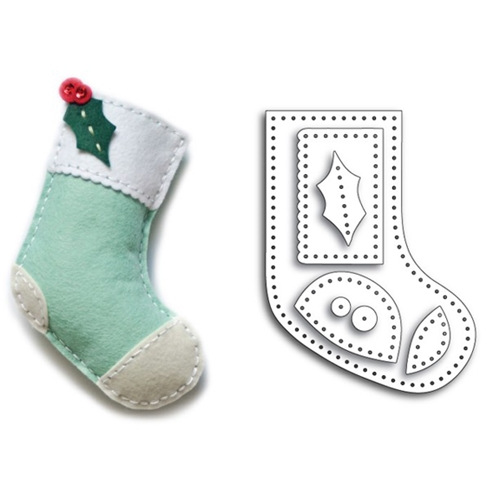 Memory Box PLUSH HOLLY STOCKING Craft Die 99310 Preview Image