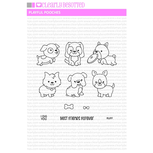Clearly Besotted PLAYFUL POOCHES Clear Stamp Set  Preview Image
