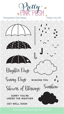 Pretty Pink Posh RAINY DAYS Clear Stamp Set PPPS003 Preview Image