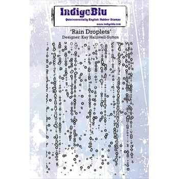 IndigoBlu Cling Stamp RAIN DROPLETS Rubber IND0199PC