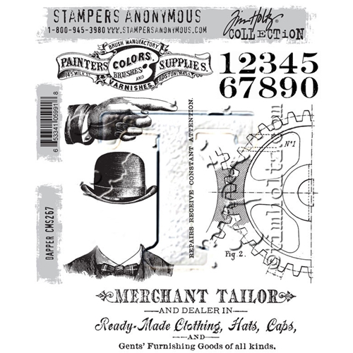 Tim Holtz Cling Rubber Stamps DAPPER CMS267  Preview Image