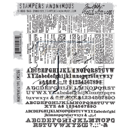 Tim Holtz Cling Rubber Stamps NEWSPRINT AND TYPE CMS266 Preview Image