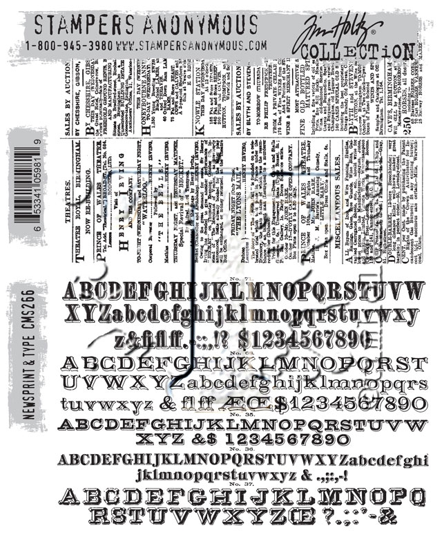 Tim Holtz Cling Rubber Stamps NEWSPRINT AND TYPE CMS266 zoom image