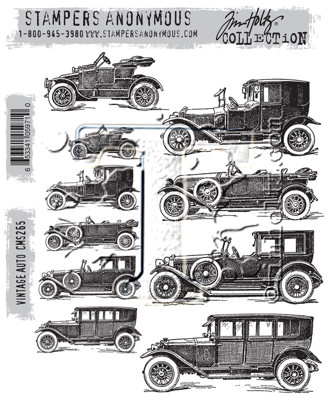 Tim Holtz Cling Rubber Stamps VINTAGE AUTO CMS265 zoom image