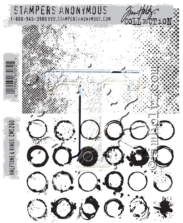 Tim Holtz Halftone and Rings Cling Stamp Set
