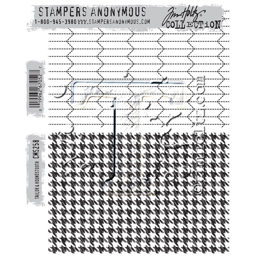 Tim Holtz Cling Rubber Stamps TAILOR AND HOUNDSTOOTH CMS258 Preview Image