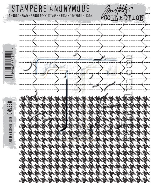 Tim Holtz Cling Rubber Stamps TAILOR AND HOUNDSTOOTH CMS258 zoom image
