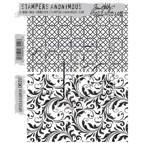 Tim Holtz Cling Rubber Stamps LATTICE AND FLOURISH CMS257 Preview Image