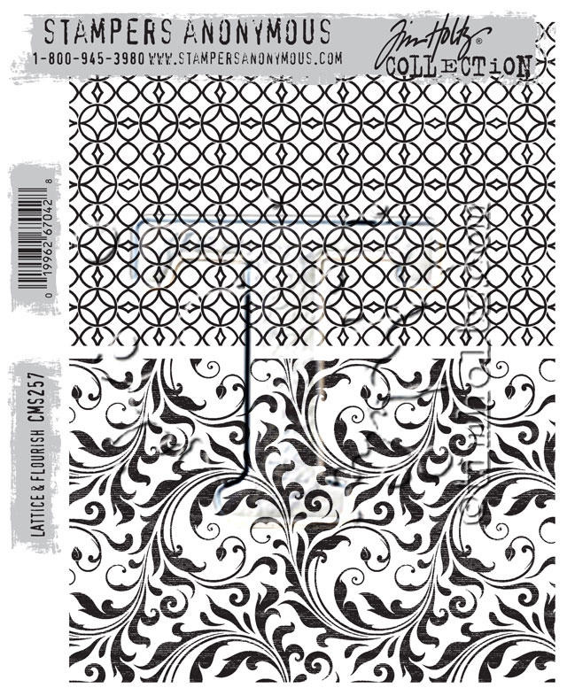 Tim Holtz Cling Rubber Stamps LATTICE AND FLOURISH CMS257 zoom image