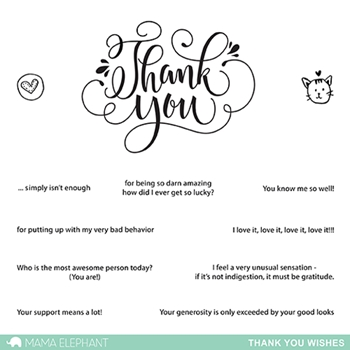Mama Elephant Clear Stamps THANK YOU WISHES*