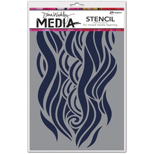 Dina Wakley MIGHTY WAVE Media Stencil MDS49906 Preview Image