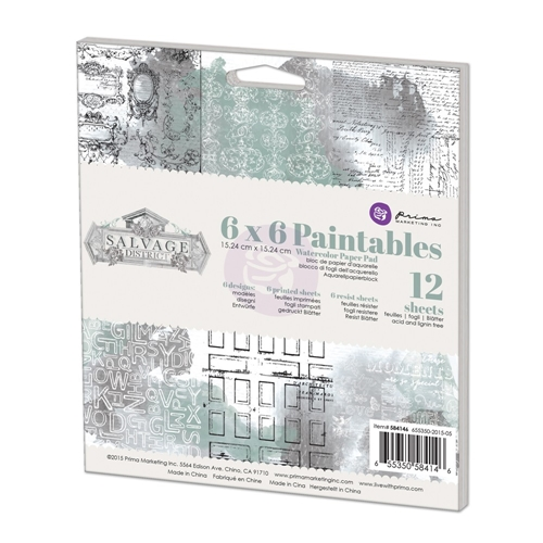 Prima Marketing 6 x 6 Paintables Watercolor Paper Pack SALVAGE DISTRICT 584146 Preview Image
