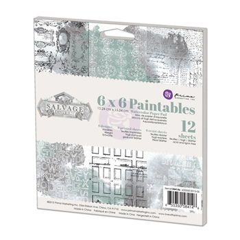 Prima Marketing 6 x 6 Paintables Watercolor Paper Pack SALVAGE DISTRICT 584146
