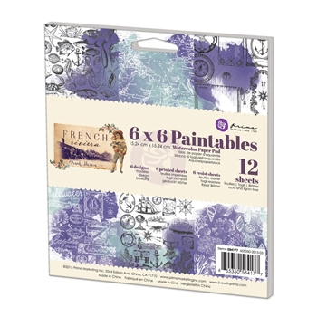 Prima Marketing 6 x 6 Paintables Watercolor Paper Pack FRENCH RIVIERA 584177