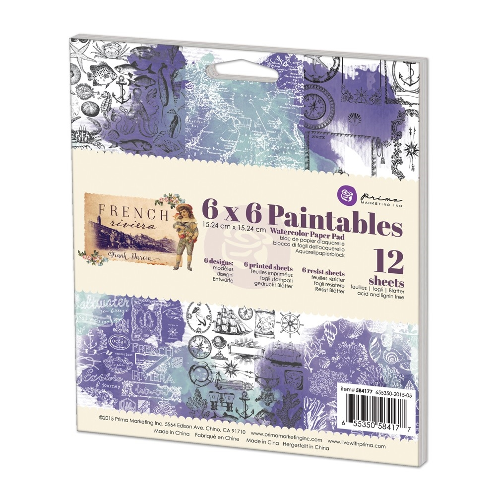 Prima Marketing 6 x 6 Paintables Watercolor Paper Pack FRENCH RIVIERA 584177 zoom image