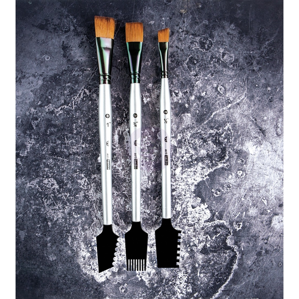 Prima Marketing DOUBLE SIDED TEXTURE BRUSHES SET 1 Art Basics 963873* zoom image