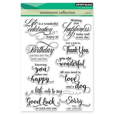 Penny Black SENTIMENT COLLECTION Clear Stamp Set 30 350  zoom image