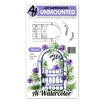 Art Impressions WOODEN GATE Watercolor Cling Rubber Stamps 4762