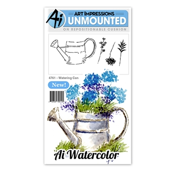 Art Impressions WATERING CAN Watercolor Cling Rubber Stamps 4761
