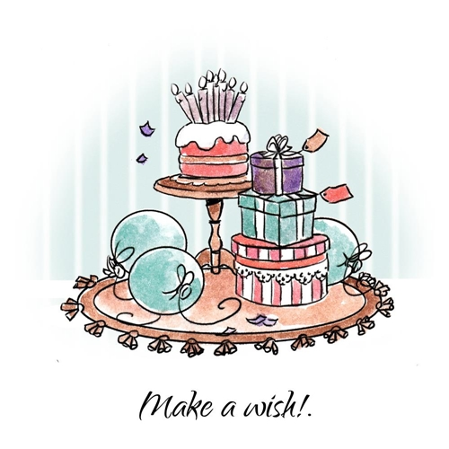 Art Impressions MAKE A WISH SET Cling Rubber Stamps 4744* Preview Image