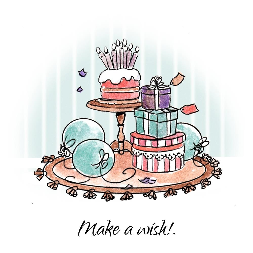 Art Impressions MAKE A WISH SET Cling Rubber Stamps 4744* zoom image