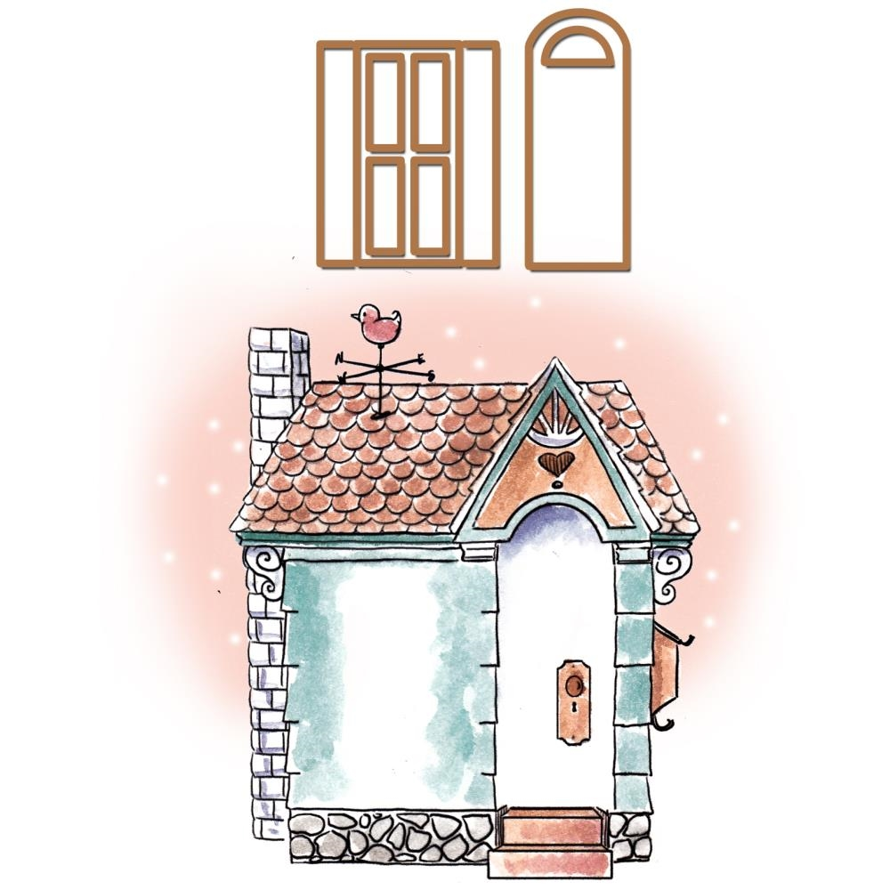 Art Impressions COTTAGE Set Cling Rubber Stamp and Dies 4746 zoom image