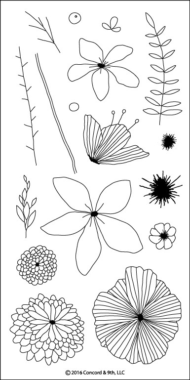 Concord & 9th WILDFLOWER Clear Stamp Set 10064C9 zoom image